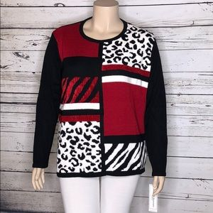 Alfred Dunner NWT 2X Patchwork Animal Sweater